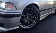 "E36 M3 Square Fitment<br />17x8.5"" ET40 ARC-8 wheels in Hyper Black<br />235/40-17 tires"
