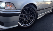 "E36 M3 Square Fitment<br />17x8.5"" ET40 ARC-8 wheels in Hyper Black<br />235/40-17 tires"