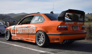 """E36 M3 Square Fitment<br />17x9.5"""" ET35 ARC-8 wheels in Hyper Black<br />255/40-17 Toyo R888 Tires<br />12mm front spacer"""