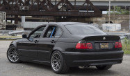 """E46 Non-M Square Fitment<br />17x9.5"""" ET35 ARC-8 wheels in Hyper Black<br />12mm front spacer<br />-4 degrees camber front and fender roll in the rear"""