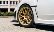 "WRX 18"" Square Fitment<br />Wheels: 18x9.5"" ET40 Satin Gold EC-7R<br />Tires: 265/35-18 Michelin Pilot Sport 4S"