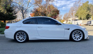 """E92 M3 SM-10 Staggered Fitment<br>Front:<br>Race Silver 18x9.5"""" ET22 with 265/35-18 Michelin Pilot Super Sport tires<br>Rear:<br>Race Silver 18x10.5"""" ET22 285/35-18 Michelin Pilot Super Sport tires<br>JRZ RS One suspension"""