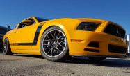 S197 Boss 302 Square Fitment<br />Wheels: 19×10″ ET40 Anthracite EC-7<br />Tires: 285/35-19 Bridgestone RE-71R<br />Mods: Extended Stud Kit, 12.5mm front spacers