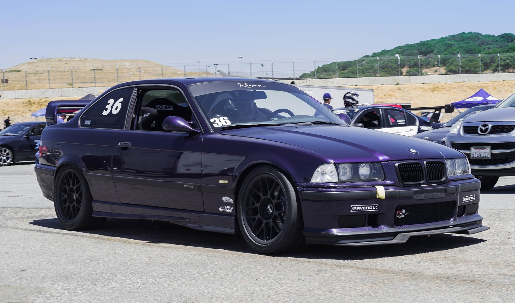 "E36 M3 Square Fitment<br />17x9"" ET42 ARC-8 wheels in Satin Black<br />245/40-17 Hoosier A7 slicks<br />15mm front spacers"