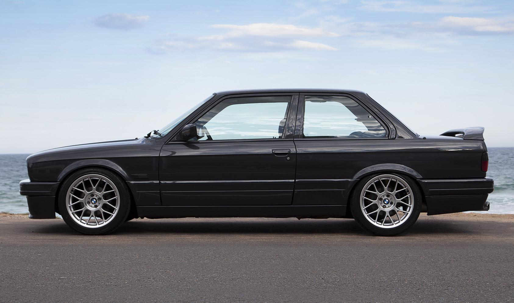 "E30<br />Wheels: 17x8"" ET25 Hyper Silver ARC-8<br />Tires: 215/45-17 Bridgestone Potenza"