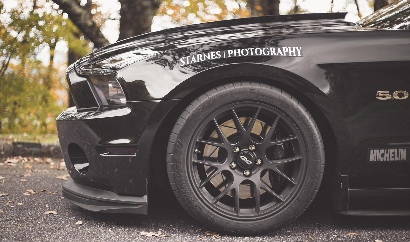 """S197 Square Fitment<br />Wheels: 18x10"""" ET43 Satin Black EC-7<br />Tires: 295/35-18 Michelin Pilot Super Sport<br />Mods: 15mm front spacers"""