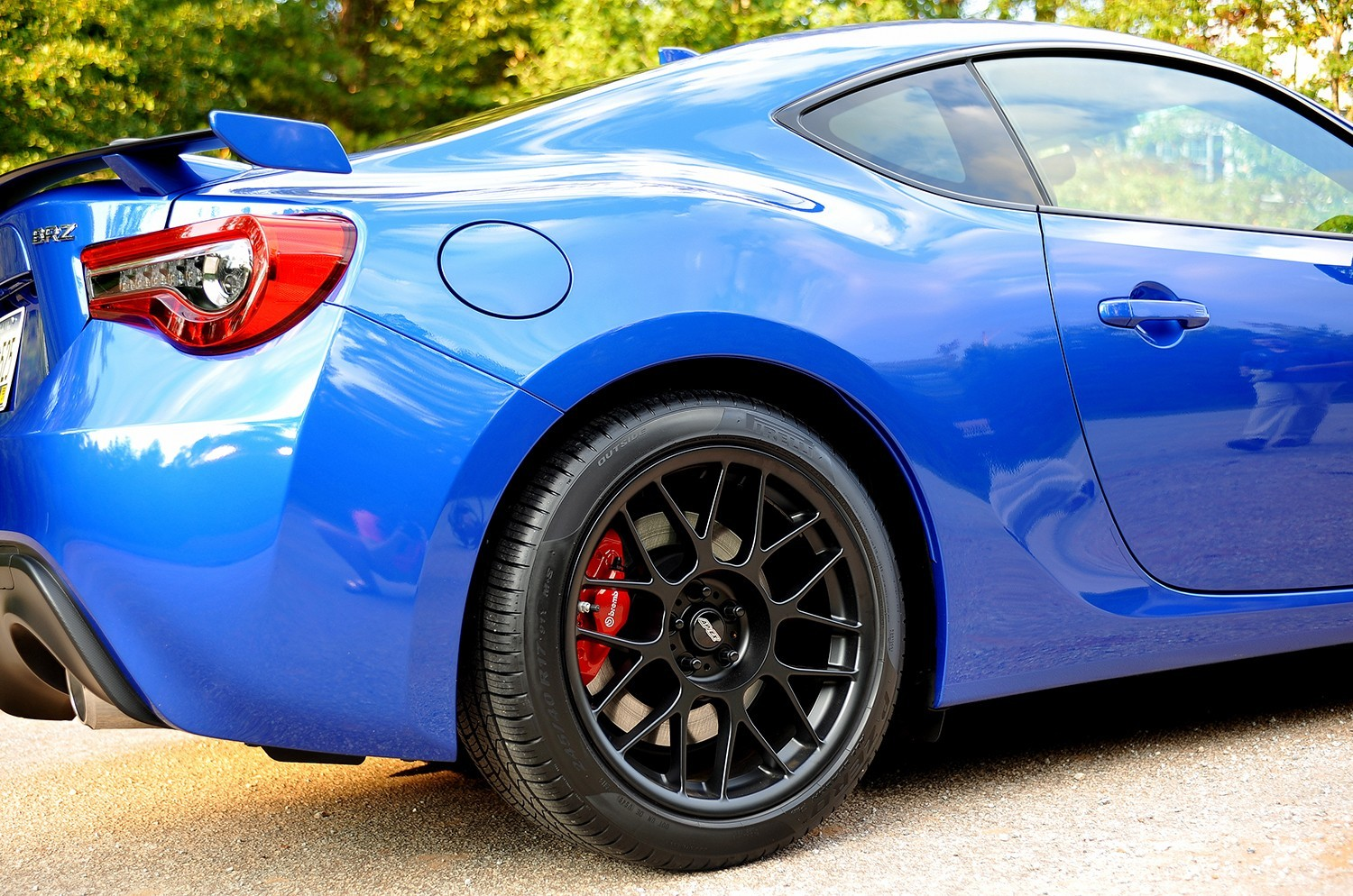 "Subaru BRZ<br />Satin Black 17x9"" ET42 ARC-8 wheels with 245/45-17 Pirelli P-Zero tires<br />Mods: BRZ Performance Package, Brembo BBK, RCE Yellow lowering springs"