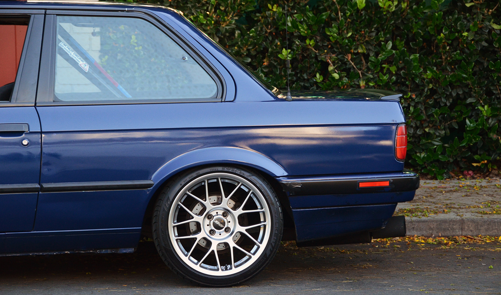 "E30<br />Wheels: 17x8"" ET25 Hyper Silver ARC-8<br />Tires: 215/40-17 Falken"