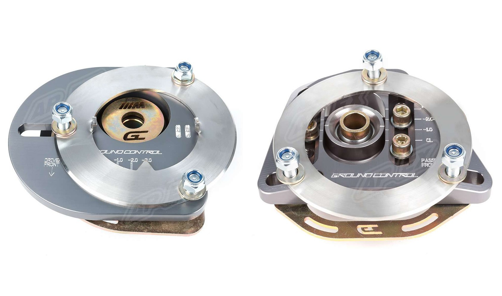Ground Control adjustable camber plates. Street (left) and Race (right).