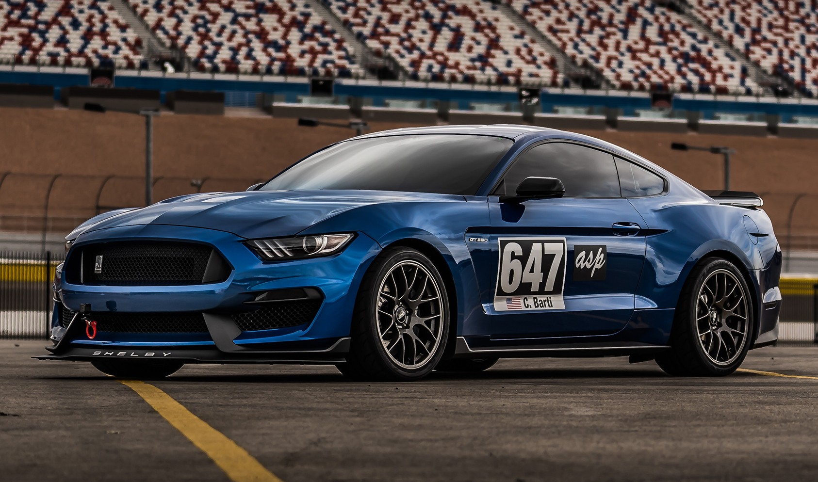 """S550 GT350 Square Fitment<br />19x11"""" ET52 Anthracite EC-7 wheels<br />305/30-19 Michelin Pilot Sport Cup 2 tires<br />25mm front spacers<br />Photo by: Mark Bastos"""