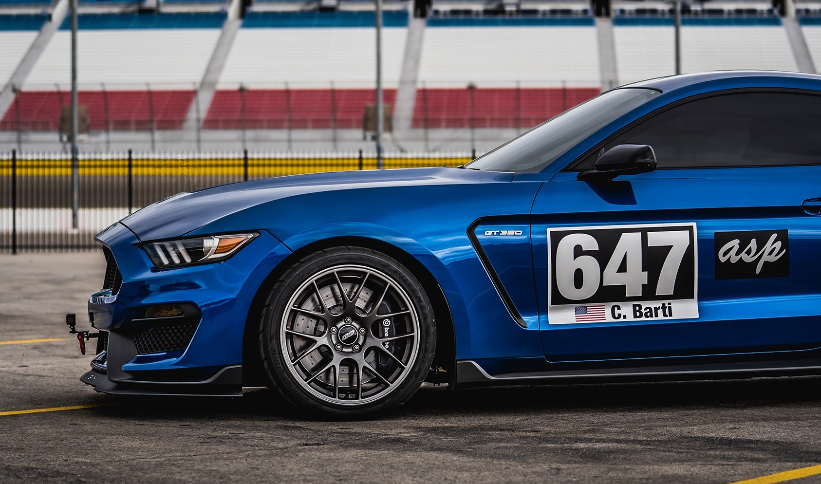 """S550 GT350 Square Fitment<br />19x11"""" ET52 Anthracite EC-7 wheels with 305/30-19 Michelin Pilot Sport Cup 2 tires<br />25mm front spacers<br />Photo by: Mark Bastos"""