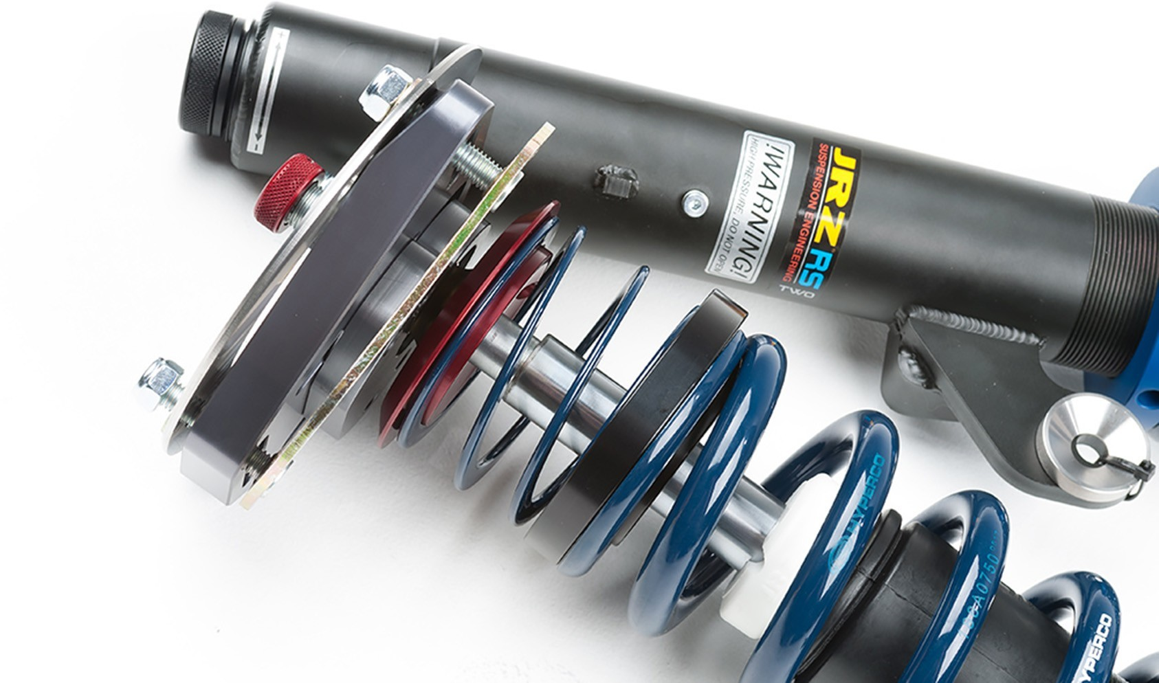 "JRZ RS TWO front dampers with Hyperco 2.25"" ID main spring, helper spring, guide, and Ground Control adjustable camber plate."