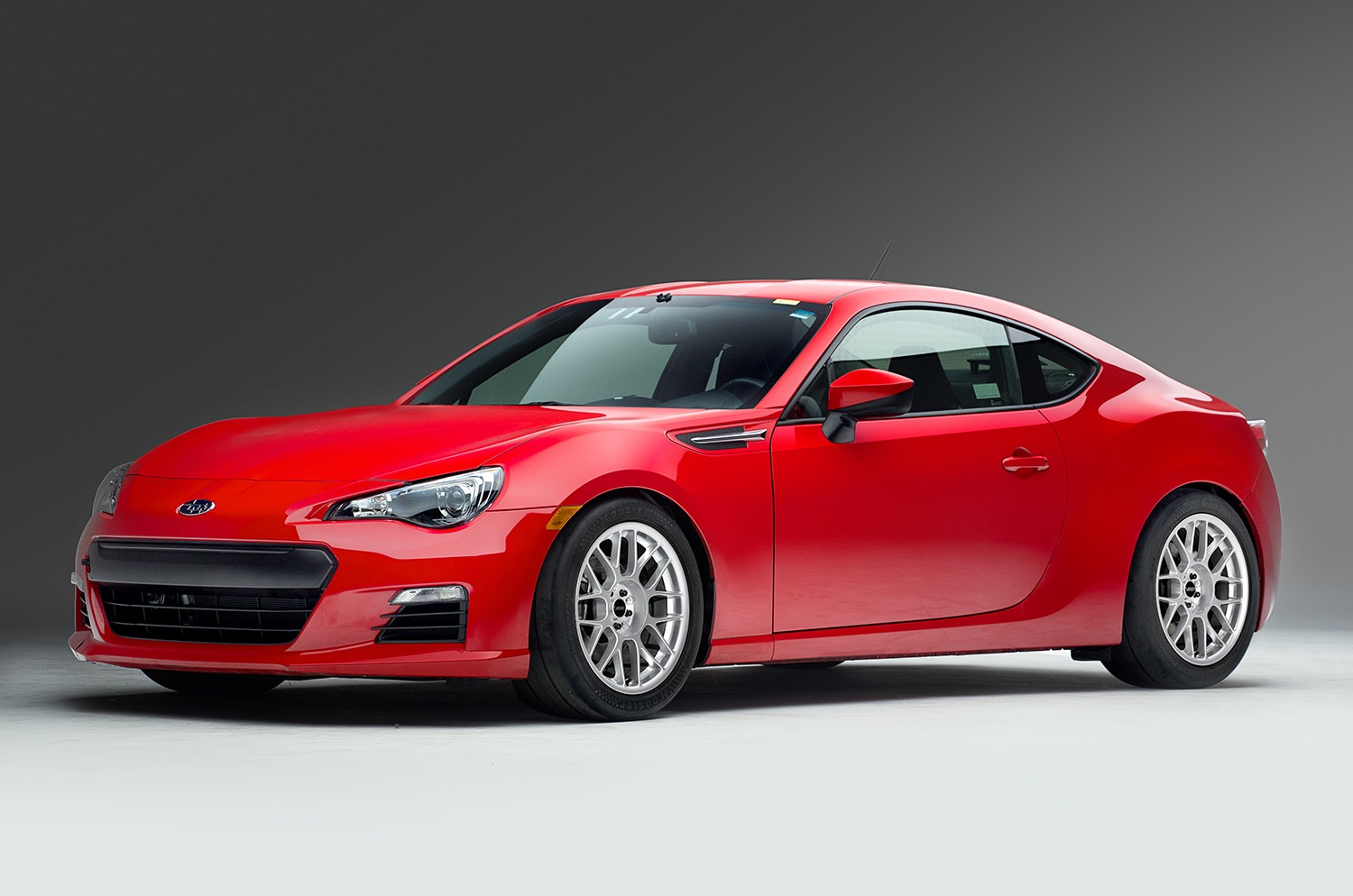 "Subaru BRZ<br />Race Silver 17x9"" ET42 ARC-8 wheels with 245/40-17 Hoosier R6 tires<br />Suspension: Ground Control full coilover<br />Camber: -2.3° front, -1.4° rear"