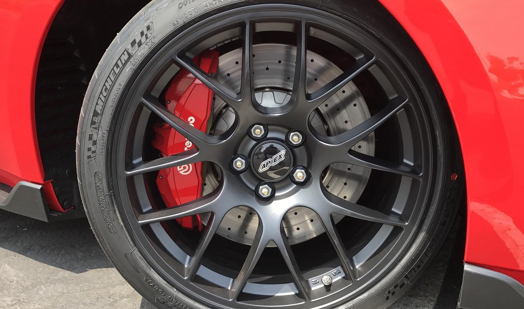 """S550 GT350 Square Fitment<br />Wheels: 19x11"""" ET52 Satin Black EC-7<br />Tires: 305/30-19 Michelin Pilot Sport Cup 2<br />Mods: 25mm front spacers"""