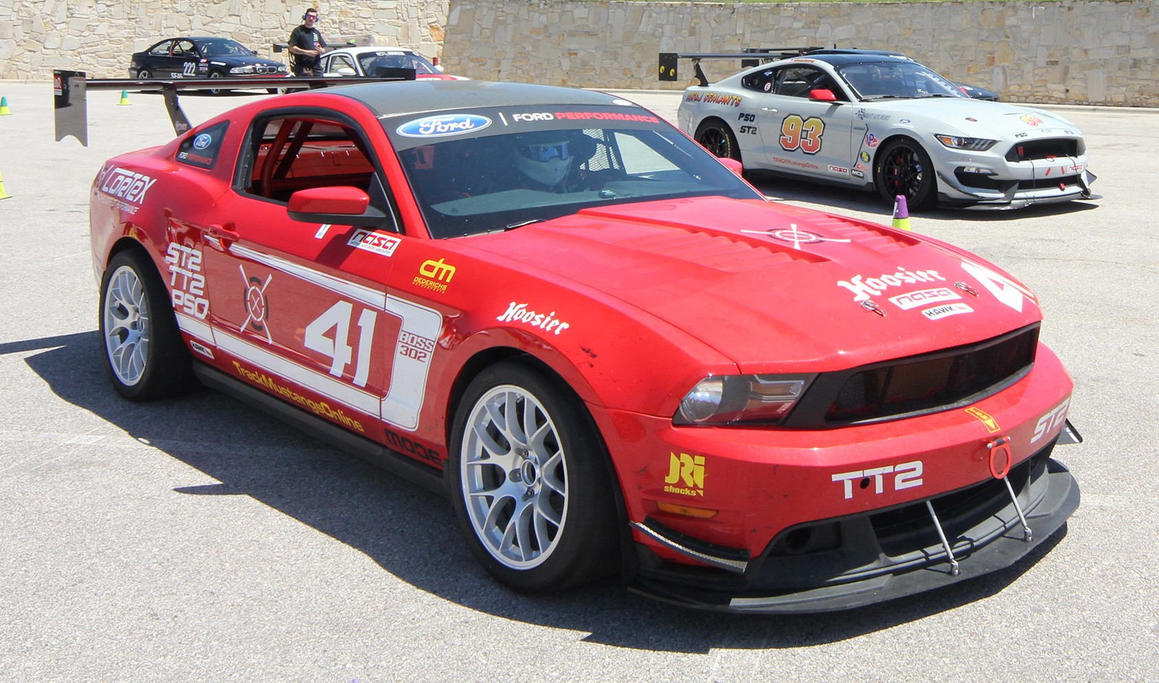 "S197 Square Fitment<br />Wheels: 18x11"" ET52 Race Silver EC-7<br />Tires: 315/30-18 Hoosier A7<br />Mods: 20mm front spacers"